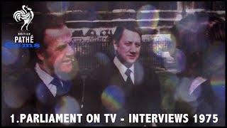 Check out this Gem from our archive. In it, several British MPs discuss the matter of televising parliament proceedings 14 years before it actually happened. Links to other films related to this topic: New House of Commons 1948: http://www.britishpathe.com/video/inauguration-of-new-house-of-commons-building/Stars Fight tax 1959: http://www.britishpathe.com/video/stars-fight-cinema-tax/To Westminster - The Queen 1966: http://www.britishpathe.com/video/to-westminster-the-queen-technicolor/FOR LICENSING ENQUIRIES VISIT http://www.britishpathe.com/FILM ID: 3393.01