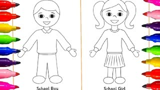 How to draw kids| School Boy and Girls| Learning Coloring Pages for children with Colored Markers