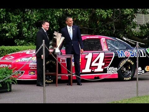 President Obama Honors Tony Stewart-s NASCAR Sprint Cup Championship
