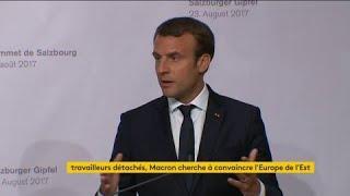 """La directive sur le travail détaché est """"une trahison des fondamentaux de l'Europe"""", estime Emmanuel Macron à Salzbourg (Autriche)"""