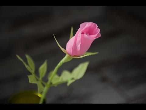 Как сделать красивую розу и бутон розы из гофрированной бумаги 61