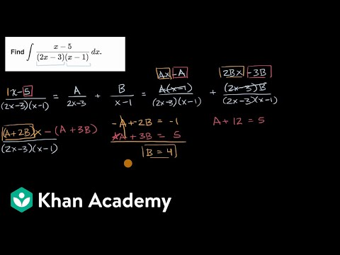 Integration With Partial Fractions Video Khan Academy