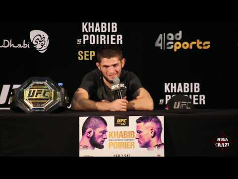 Khabib Nurmagomedov reacts to Submission win over Dustin Poirier at UFC 242