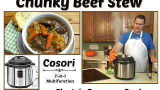 "Join Eric as he makes a Chunky Beef Stew in the Cosori 7-in-1 Multifunction Electric Pressure Cooker. This beef stew starts with  cubed beef which is has a dry brine. The stew is made from aromatic vegetables, red wine, and beef broth. The beef and vegetables are sauteed which creates a fond that flavors the stew. It is cooked on high pressure in the Cosori Electric Pressure Cooker.  This is a 6 quart electric pressure cooker that gives you the ability to cook delicious and easy meals quickly. You can use it as a pressure cooker, slow cooker, rice cooker, saute pan, stock pot, steamer & warmer.  Amy Learns to Cook is all about learning to make simple, tasty food from fresh ingredients.  One year ago, I made a commitment to stop eating processed convenience foods.  I decided to learn to cook ""real"" food. Join me!  Let's learn to cook together! Enjoy! Please share! Cosori Electric Pressure Cooker 7-in-1 Multifunction:http://amzn.to/2pqHxBPCosori Electric Pressure Cooker Unboxing:https://youtu.be/-HqJoDz7iN4Please SUBSCRIBE to my channel, LIKE, and leave a COMMENT.Please visit my website: www.amylearnstocook.comAny links in this description, including Amazon, are affiliate links.I received this product free of charge in exchange for my honest review."