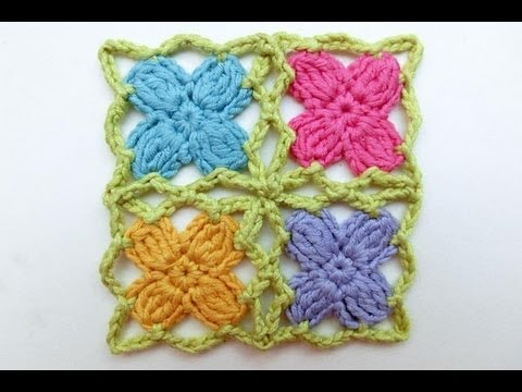 How to Crochet * Mille fiori per cinque mille agnelli * Crochet Flower Triangle Scarf