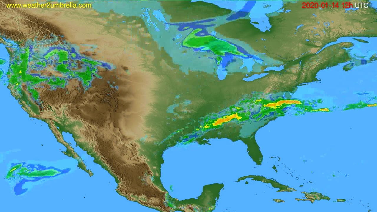 Radar forecast USA & Canada // modelrun: 00h UTC 2020-01-14