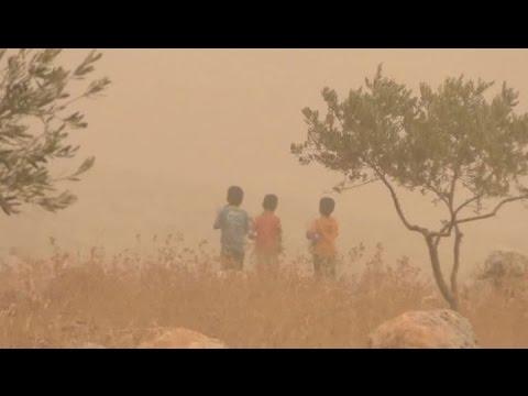 Смотреть онлайн: Песчаная буря в долине Евфрата: тысячи пострадавших, есть погибшие