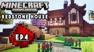 Let's Build: MCPE REDSTONE HOUSE EP4 - Redesigning, Redstone Doors (Redstone Tutorial Series)