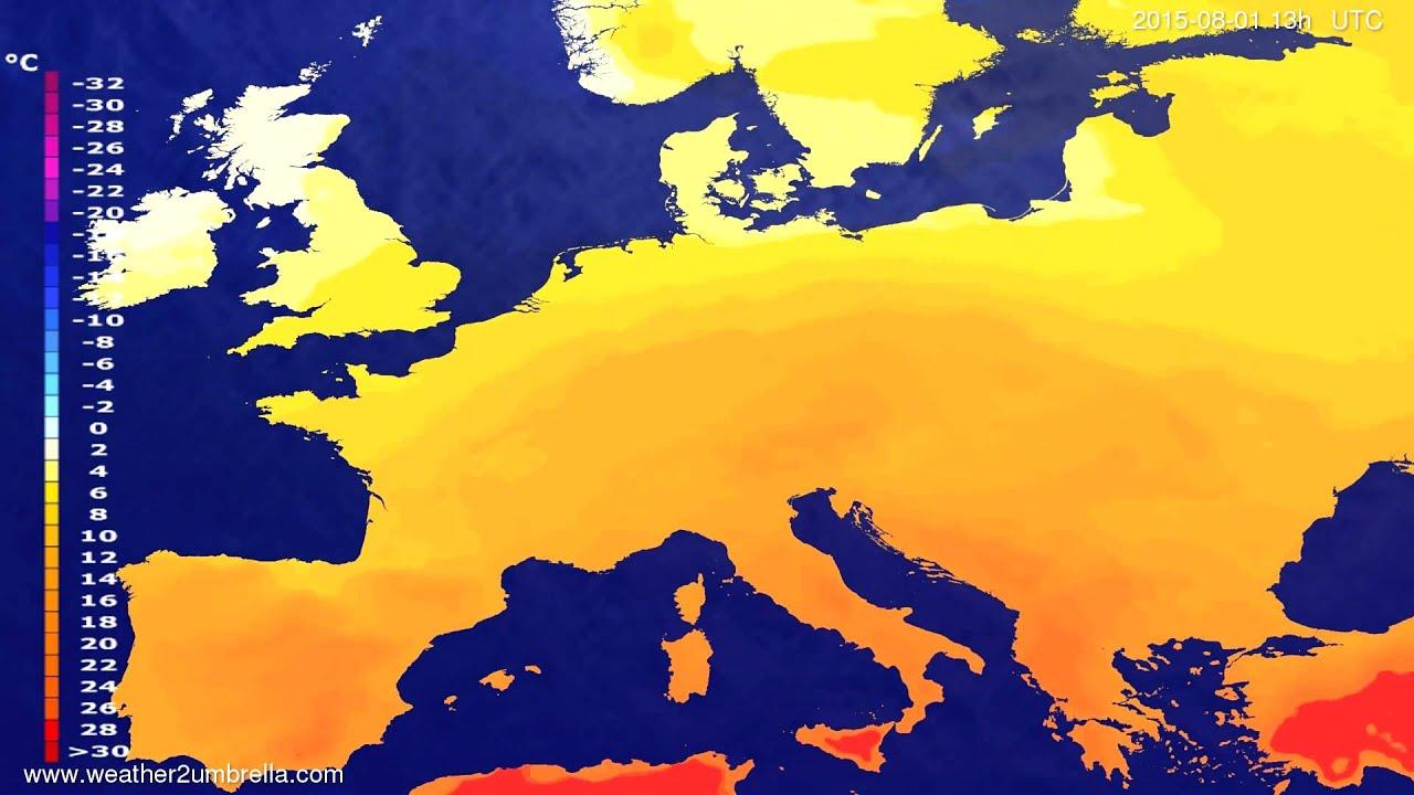Temperature forecast Europe 2015-07-29
