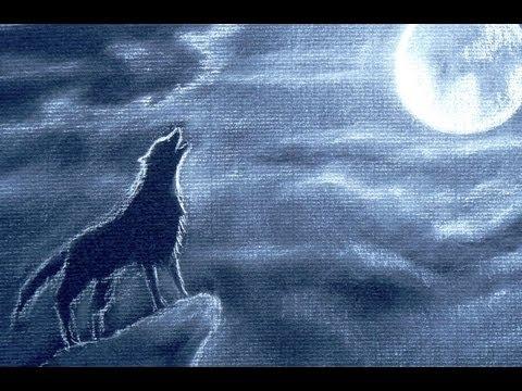 Cómo dibujar on lobo aullando - Cómo dibujar nubes de noche con luna