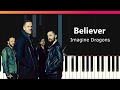 """Download Video Imagine Dragons - """"Believer"""" EASY Piano Tutorial - Chords - How To Play - Cover"""