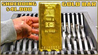 Shredding $41,000 SOLID GOLD BAR in SHREDDING MACHINE