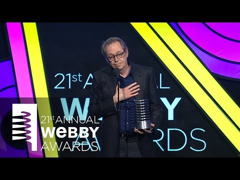 Louis CK presents to Steve Buscemi at the 21st Annual Webby Awards