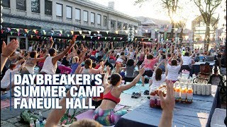 Track Talk with Olivia Vanni: Daybreaker's Morning Yoga & Dance Party Faneuil Hall Marketplace.Video by Robert Greim