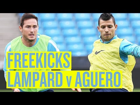 Video: LAMPARD v AGUERO Training ground free kicks