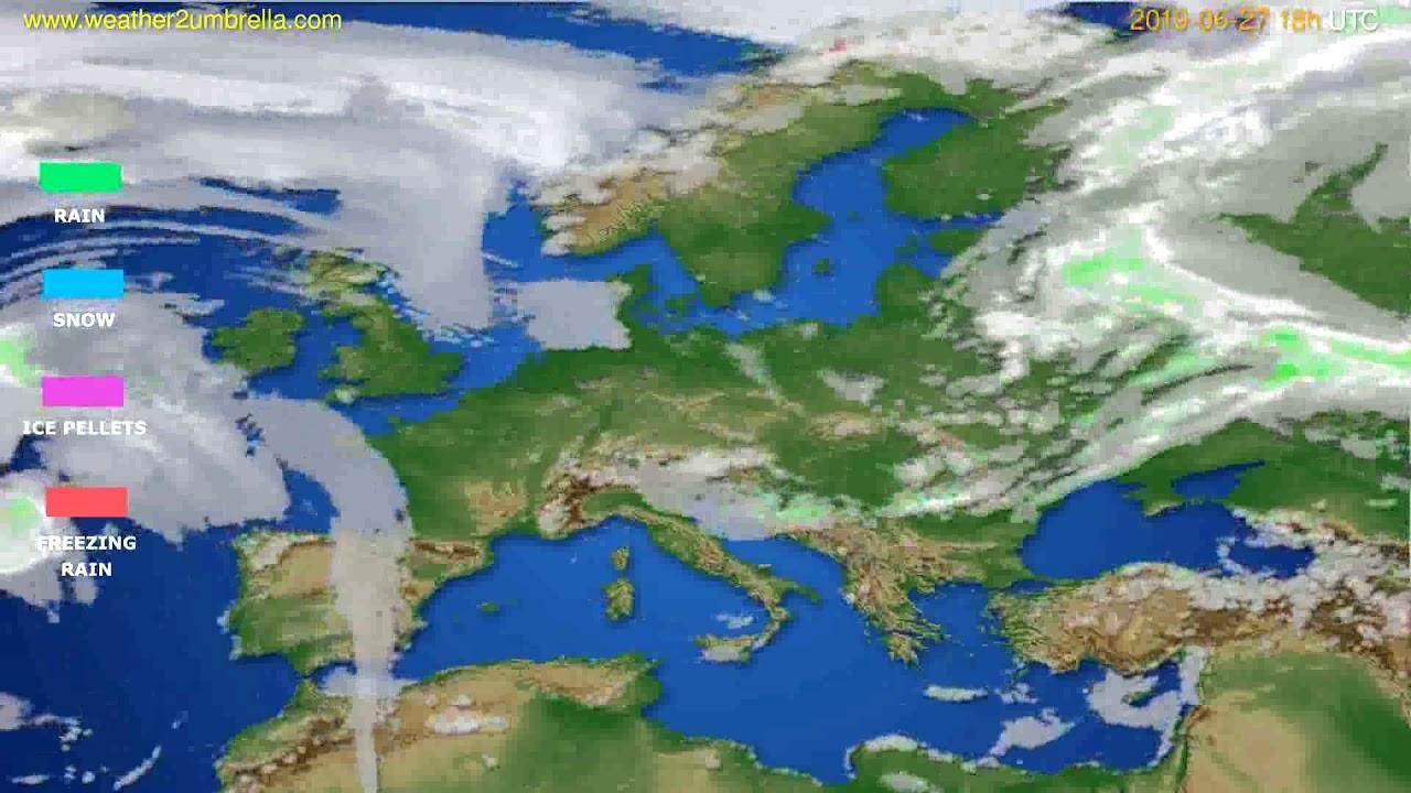 Precipitation forecast Europe // modelrun: 12h UTC 2019-06-25