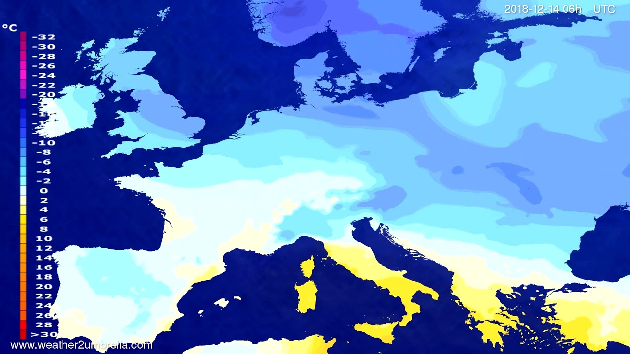 Temperature forecast Europe 2018-12-10