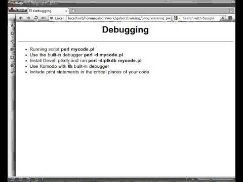 Beginner Perl Maven tutorial: 1.5 Debugging Perl scripts
