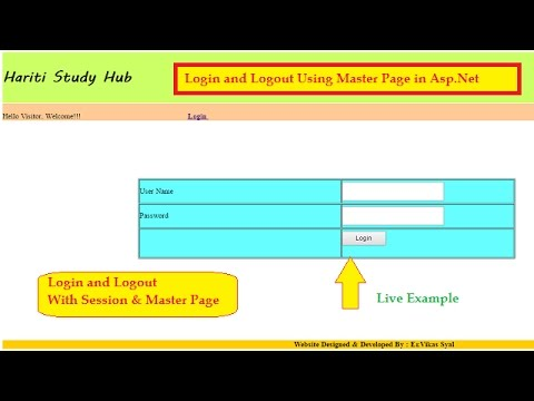 Login, Logout Page Using Master Page, Session, Sql Database In Asp.Net C# | Hindi | Online Classes