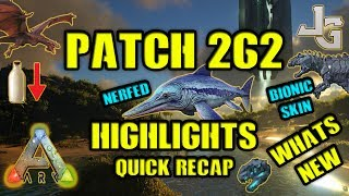 "The ARK patch 262 has been released and I'll give you the highlights of this patch. Whats new and what did they change? Any important stuff I need to know?Here is a recap of the 262 patch:- New Achievement: TheCenter Guardians Achievement for defeating its bosses- After Defeating TheCenter End Bosses, on any difficulty, you should have access to the Giga Bionic Skin.- After Alpha Ascension, you should have access to the Rex Bionic Skin.- Dragon boss no longer present on TheCenter- Center Boss damage reduced by 33% versus TheIsland bosses- Fixed Bosses so they no longer have random levels, but will scale correctly on game and server difficulty.- Wyverns should now teleport to the Manticore Arena.- Increased return-from-boss teleport pawn spread (less cases of being stuck when returning back to the Ob!)- New commands to see where Dinos are when hibernated, as well as teleport to the nearest hibernated creature. ""cheat hiwarp raptor_character_bp_c"" and ""cheat hibernationreport raptor_character_bp_c""- Baby Wyverns no longer consume too much milk.- Increased the capsule size of Pternadon to make sure it can't fit thru player sized door frames.- 25 more element to build Tek Generator- Tek Rifle and Explosives damage foliage- TEK Tapejara Saddle now has a torch socket- Reduced Dolphin tamed run speed by 15%- Dolphins don't spawn in underwater caves- More Eels, Trilobites, and Euyrps in underwater overworld- Reduce targeting range of AI in both underwater caves by 50%, and reduced spawn quantity in HARD cave specifically by 33%, also Eels in the hard cave now spawn in groups of 2, not 6.- TheCenter Night has been made darker- There is now a 25% chance of fog with any rain!- When you already have a survivor (i.e. you have the respawn button visible), there is a confirmation dialog for when you ""Create New Survivor"" saying ""Warning: This will destroy your previous Survivor, are you sure you wish to proceed?""- FPV hands now enter a special 'dragging' anim pose when dragging a body.- Torches on dino saddles now scare away Troodons.- Attaching quality torches to saddles no longer converts them into primitive quality when the durability runs out.Full Patch 262 Notes:https://survivetheark.com/index.php?/forums/topic/166421-pc-patch-notes-current-v261-upcoming-v262/"