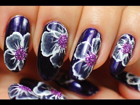 nail art fiori bianchi