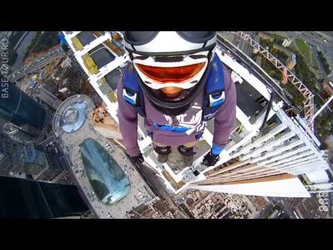 Jump from the roof! The highest building in Europe! B A S E  jumping, illegal (VIDEO)
