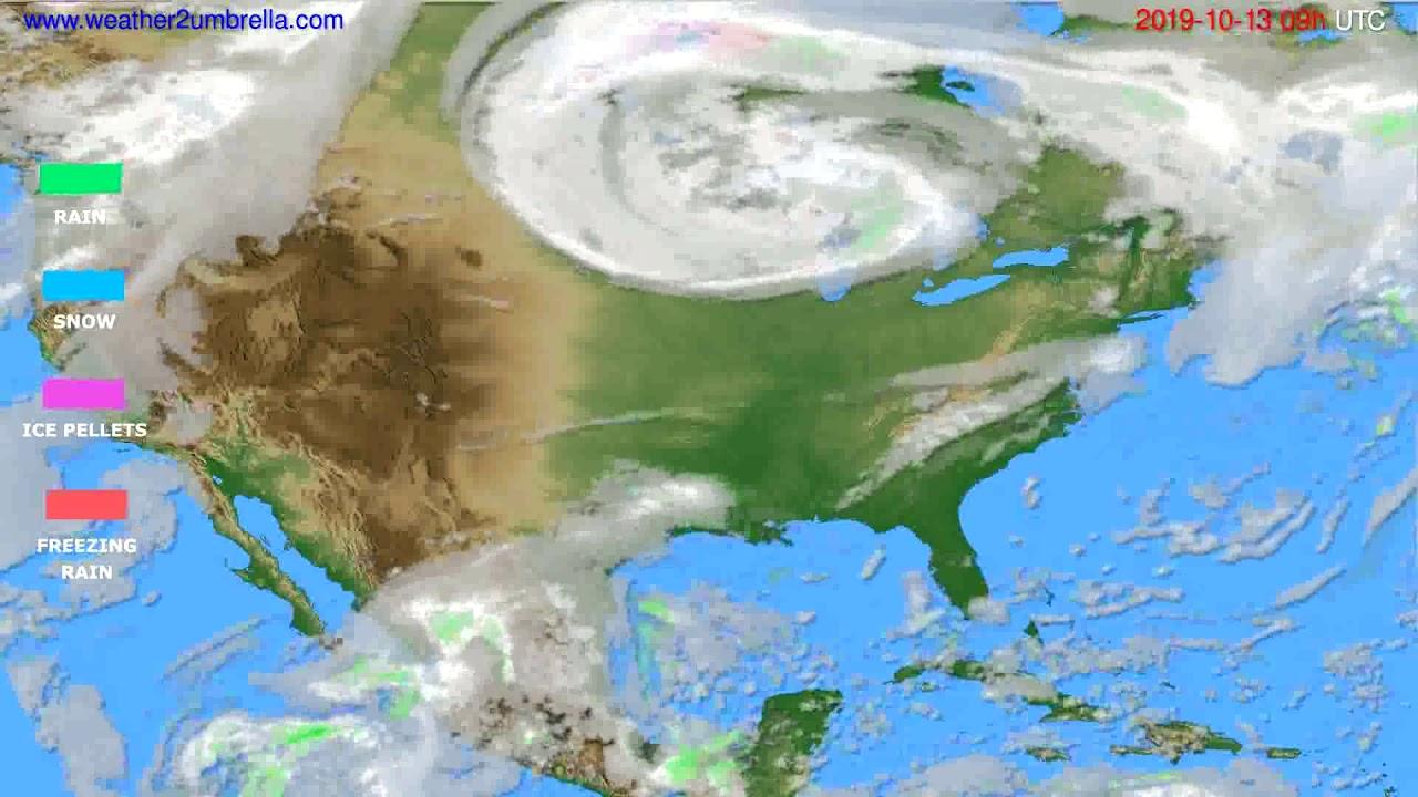 Precipitation forecast USA & Canada // modelrun: 12h UTC 2019-10-11