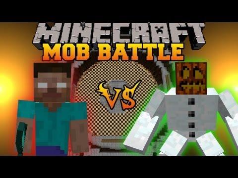 Herobrine Vs. Mutant Snow Golem - Minecraft Mob Battles - Herobrine Mob Mod