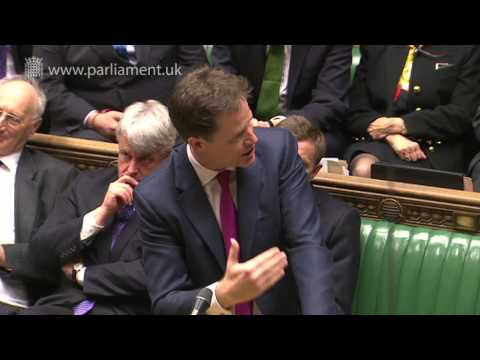 minister - Deputy Prime Minister, Nick Clegg, answered questions from MPs in the House of Commons on Wednesday 15 May 2013. The Deputy Prime Minister answered questions...