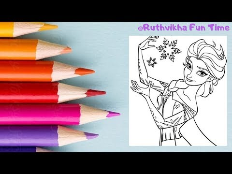 Coloring Frozen: Elsa For Kids || Coloring Page || Coloring Book || RUTHVIKHA FUN TIME