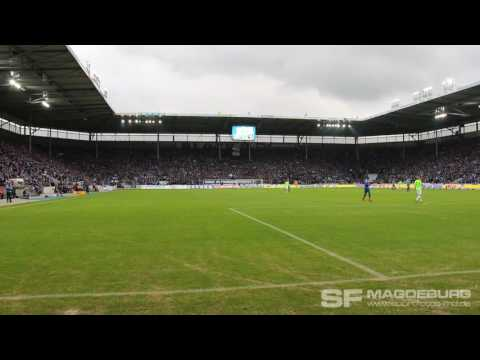 Video: Start des Support nach 25 Schweigeminuten 1. FC Magdeburg - Chemnitzer FC