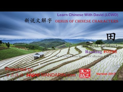 Origin of Chinese Characters - 0596 田 tián field; farmland - Learn Chinese with Flash Cards