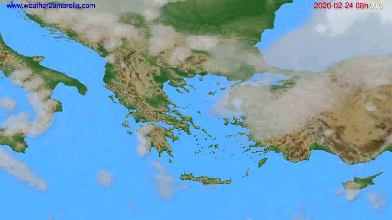 Cloud forecast Greece // modelrun: 12h UTC 2020-02-23