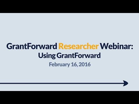 GrantForward Webinar held on February 16, 2016, for researchers and faculty at subscribing institutions. This webinar covers how to create accounts, search for grants, view grant and sponsor pages, use filters, manipulate results, create profiles, and receive grant recommendations. For more information about how to use GrantForward, visit www.GrantForward.com/support.