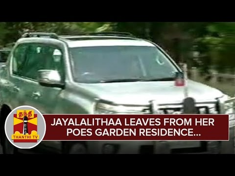 Jayalalithaa-leaves-from-her-Poes-Garden-Residence--Thanthi-TV