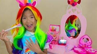 Wendy Pretend Play Rainbow Dash Unicorn Dress Up & New Kids Make Up Toys