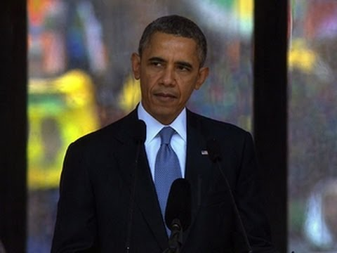 president - President Obama addressed the massive crowd of mourners assembled to honor Nelson Mandela at FNB Stadium in Soweto. Obama remembered the former South African...