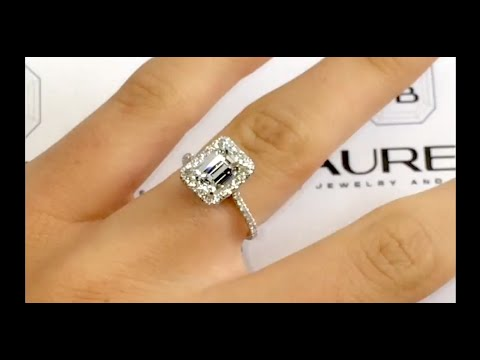 2.00 Carat Emerald cut Diamond Ring In Cathedral Halo