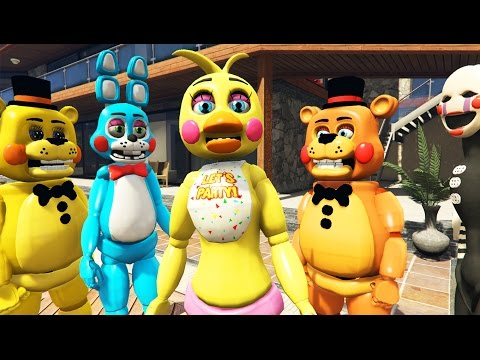 TOY ANIMATRONICS vs FRANKLIN'S HUGE MANSION PARTY! (GTA 5 Mods FNAF Funny Moments)