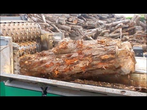 Extreme Fastest Big Tree Stump Shredder Modern Technology. Tree Roots Stump Removal & Wood Chipper