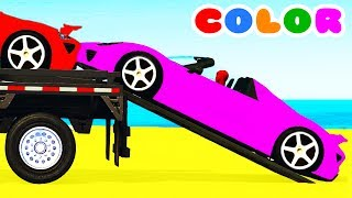Video COLOR CARS Transportation & Spiderman Cartoon for kids w Bus Superheroes for babies children! MP3, 3GP, MP4, WEBM, AVI, FLV Mei 2017