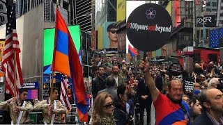 Commemoration of 102 anniversary of Armenian Genocide  at the Times Square in NYC