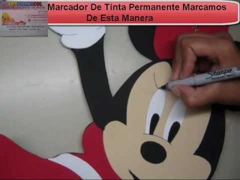COMO HACER MINNIE MOUSE DE DISNEY EN FOAMY O GOMAEVA CON MOLDES O PATRONES