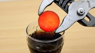 EXPERIMENT Glowing 1000 degree METAL BALL vs COCA COLA
