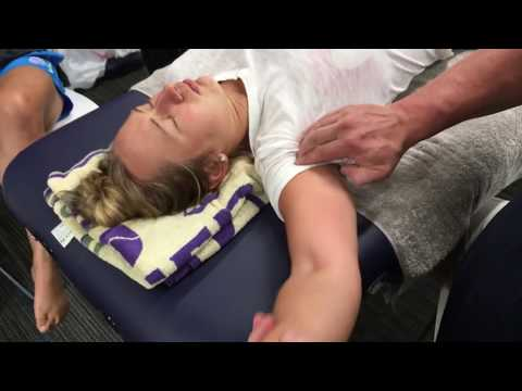 Sports massage. Arm, hand and shoulder massage. Brandon working on NZ Olympic athlete Tori Peeters