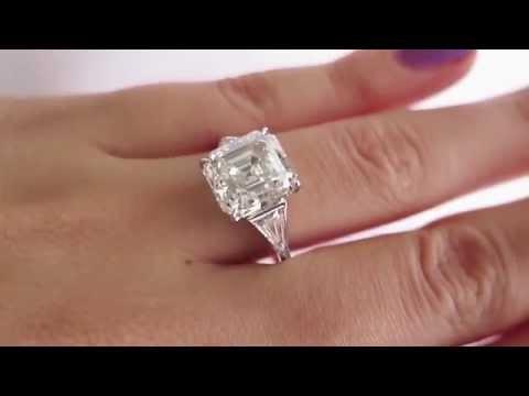 Art Deco 5.38ct Asscher, Square Emerald Cut Diamond Engagement Platinum Ring