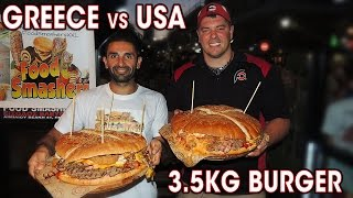 Atlas & Damos vs The 3.5kg Burger Challenge at Butcher's Burger in Athens, Greece (2016 Europe Tour – Day #53 / Challenge ...