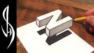 """► Ready to Draw Trick Art Illusions?  Pre-order My Book https://www.amazon.com/dp/1633223558Ultimate guide on how to draw 3D floating letters.  Drawing a block capital letter N.  Very easy trick art for beginners and advanced artists for both kids and adults.Materials used:  110lb cardstock, Sharpie marker penThank you for watching!Connect With Me On Social: WEBSITE:    http://www.jonathanstephenharris.comFACEBOOK: https://www.facebook.com/Jonathan.Stephen.HarrisFACEBOOK: https://www.facebook.com/JSHStudioGalleryINSTAGRAM: http://instagram.com/jonathanstephenharrisSOCIETY6:    http://society6.com/JSHartsSAATCHIART:   http://www.saatchiart.com/jshPATREON:         https://www.patreon.com/JSHMUSIC: """"Someone_Your_Own_Size"""" by YouTube Audio Library https://www.youtube.com/audiolibrary/music"""