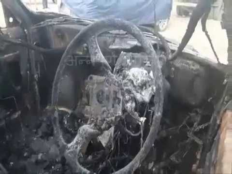 Taxi burnt by Biplab Maoist