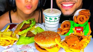 ASMR IN N OUT ANIMAL STYLE WITH WIFE JERRY EATING FAST FOOD BURGER KING SOUNDS NO TALKING MUKBANG 먹방